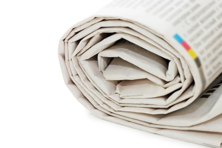 Roll of newspapers, isolated on white background Stock Photo - 8384075