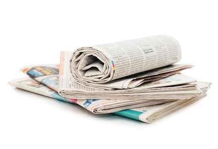 press media: Roll of newspapers, isolated on white background  Stock Photo