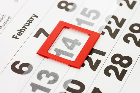 14 february: Sheet of wall calendar with red mark on 14 February - Valentines day Stock Photo