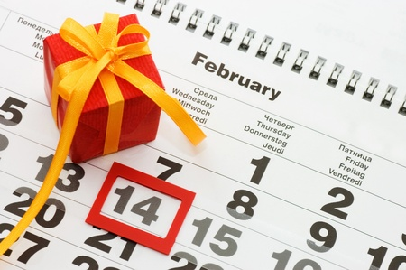 Sheet of wall calendar with red mark on 14 February - Valentines day Stock Photo - 8596561