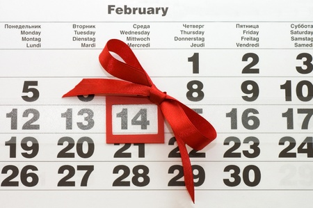 Sheet of wall calendar with red mark on 14 February - Valentines day Stock Photo - 8596575