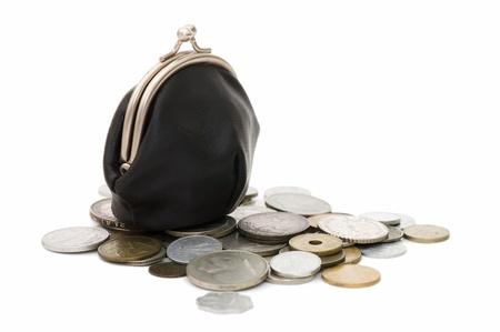 oude munten: Oude munten geïsoleerd op witte achtergrond  Stockfoto