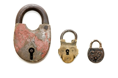 grapple: Set of old locks isolated on white background