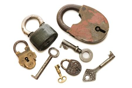 Set of old locks isolated on white background  photo