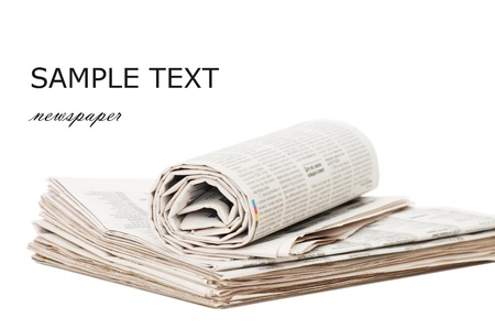Roll of newspapers, isolated on white background Stock Photo - 8701876