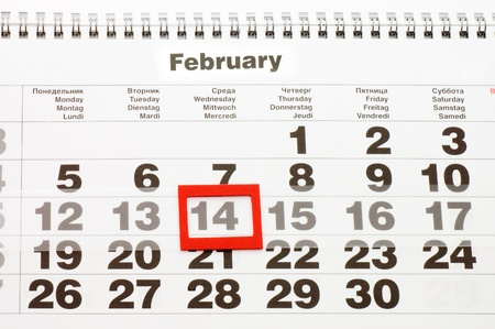 Sheet of wall calendar with red mark on 14 February - Valentines day Stock Photo - 8702027