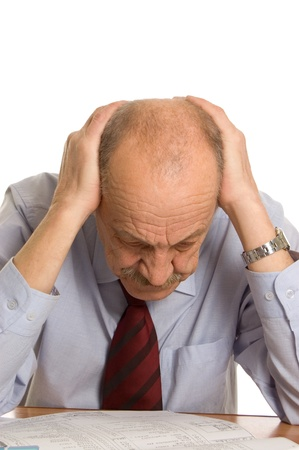 stressed businessman: businessman keeps for a head isolated