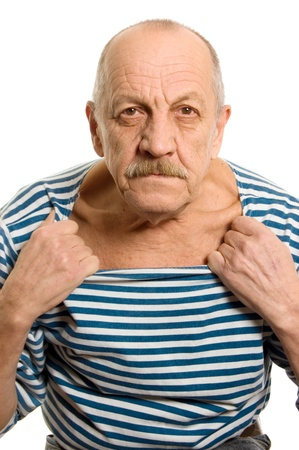 abusive man: The elderly man in a stripped vest