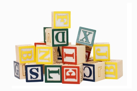 Cubes with letters isolated on white background photo