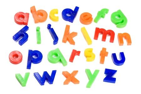 Plastic English letters isolated on white background Stock Photo - 8702076