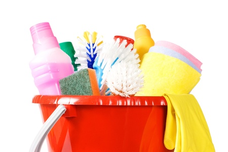 Bucket for cleaning with washing-up liquids Stock Photo - 8834578