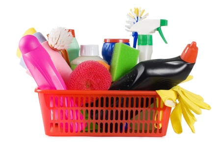 Basket with means for cleaning isolated on white Stock Photo - 8834596