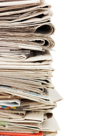press news: Various newspapers over white background