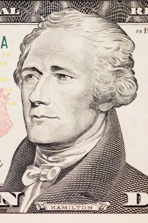 president hamilton face on the ten dollar bill photo