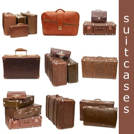 maletas de viaje: El mont�n de viejos maletas aislados en blanco. Collage Foto de archivo