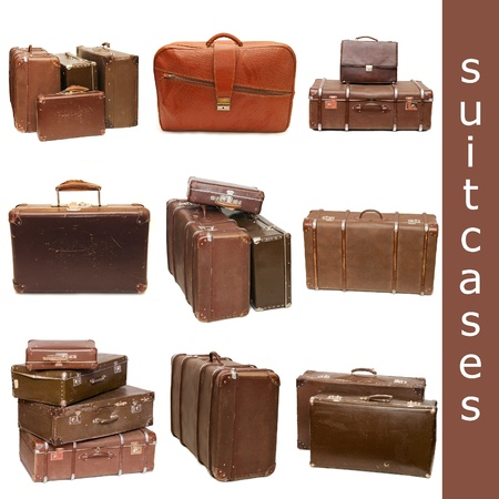 Heap of old suitcases isolated on white. collage photo