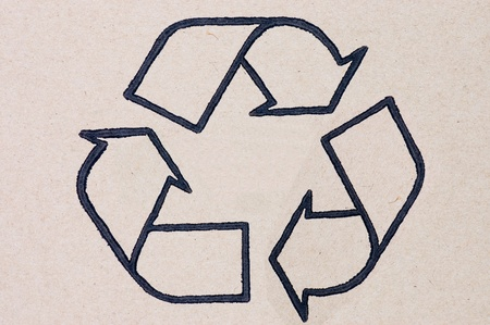 cardboard box background with recycle symbol Stock Photo - 8834740