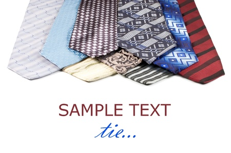 Set of Luxury ties on white background photo