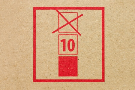 Warning sign on a cardboard box photo