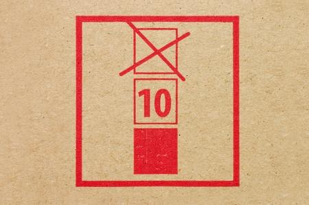 Warning sign on a cardboard box photo