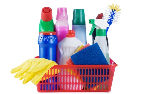 Assortment of means for cleaning isolated Stock Photo - 8834903