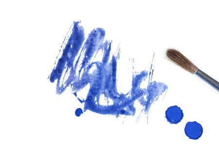 blue abstract watercolor brush splash background photo