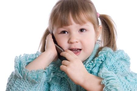 speaks: The little girl speaks by phone