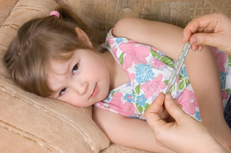 body temperature: The little girl is ill