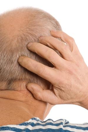 nape: The elderly man scratches a nape