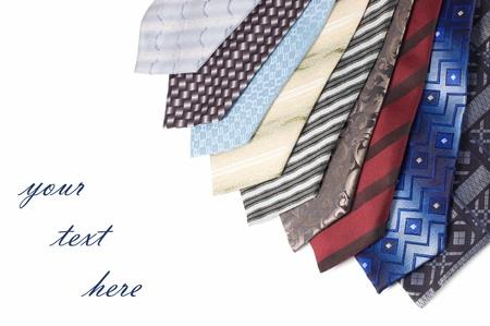 Set of Luxury ties on white background Stock Photo - 8930802