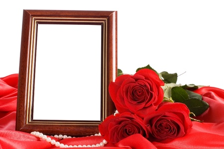 wedding photo frame: Red rose with a framework for a photo Stock Photo