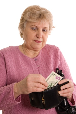 The elderly woman with a purse photo