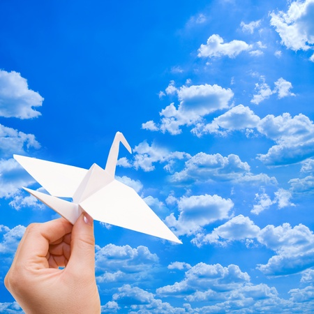 mouche: Grue de papier contre le ciel bleu