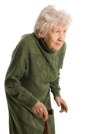 vestidos antiguos: anciana aislada sobre fondo blanco Foto de archivo