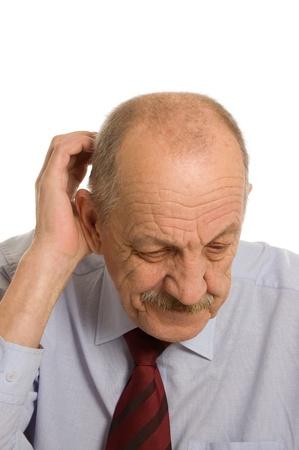 The elderly man isolated on white background photo