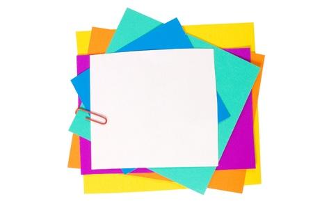 descriptive color: Colour paper with a paper clip