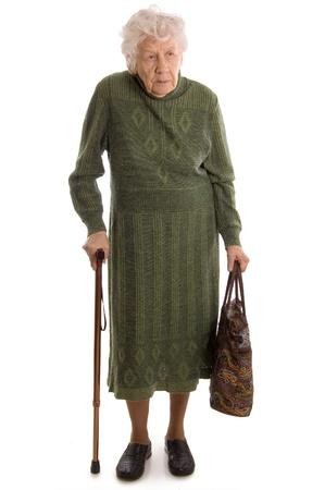 canes: La donna anziana isolata su sfondo bianco