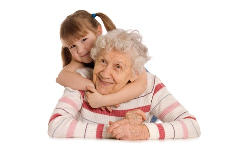 grandmother grandchild: The elderly woman with the grand daughter