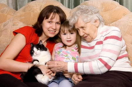Family on a sofa with a cat Stock Photo - 9036445
