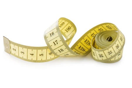 measure waist: Yellow measuring tape isolated on white background