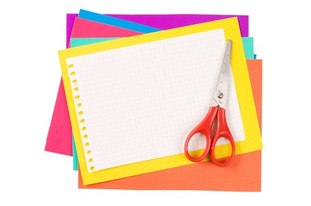 collate: Colour paper with Scissors isolated on white