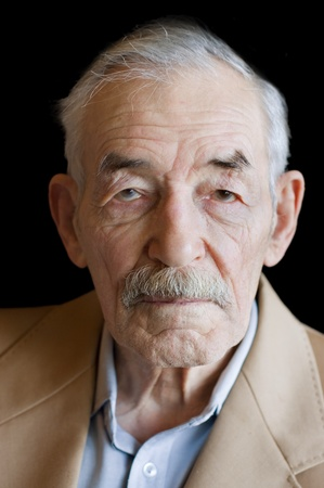 year profile: Old man with moustaches in a jacket