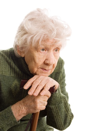 only one senior: Portrait of the old woman isolated on white