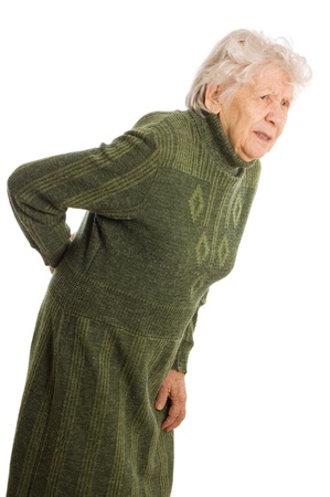 senior pain: Grandmother holding a cane on white background