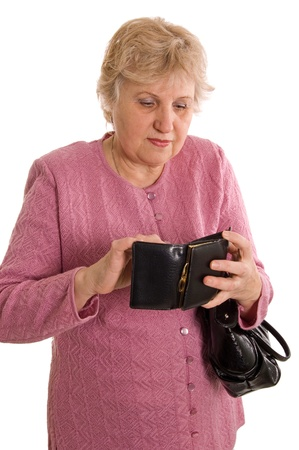 The elderly woman with a black bag photo