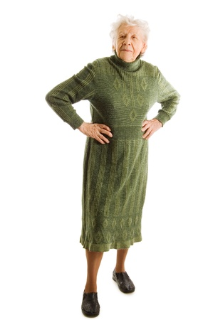 abuela: anciana aislada sobre fondo blanco Foto de archivo