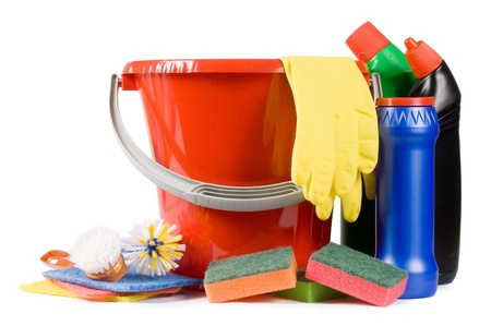Assortment of means for cleaning isolated Stock Photo - 9318310