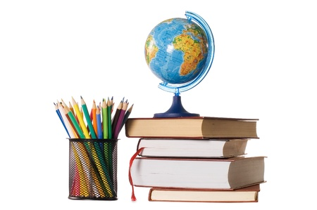 The globe on books isolated on a white background Stock Photo - 9318304