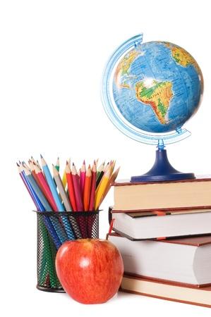 vzdělávací: The globe on books isolated on a white background