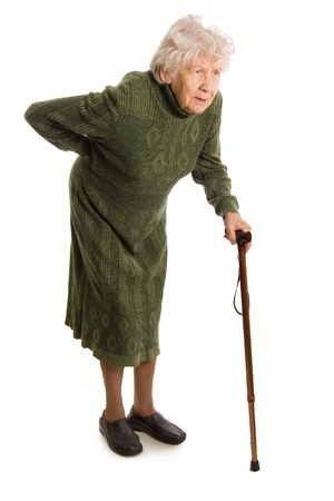 weakness: Grandmother holding a cane on white background